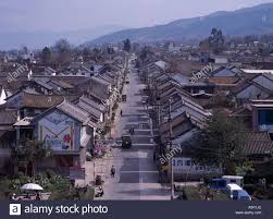 from south gate dali old castle rows of houses dali yunnan china