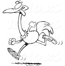 vector of a cartoon running ostrich coloring page outline by