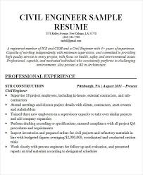 Civil Resume Sample by Sample Civil Engineer Resume Sample Resume For Civil Engineer Doc