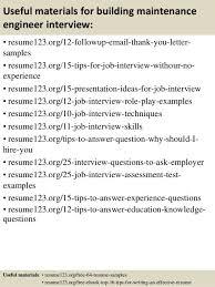 Resume For Maintenance Engineer Building Maintenance Engineer Cover Letter