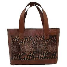 Handmade Leather Tote Bag - handmade leather tote bag with painted batik