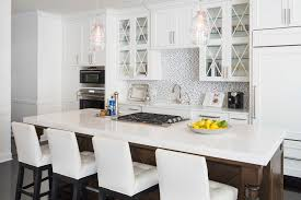 Transitional White Kitchen - caesarstone organic white kitchen transitional with white stools