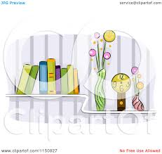 cartoon of a shelf of books vases and a clock in a living room