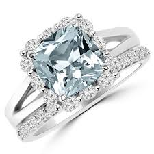 Engagement And Wedding Ring Sets by Blue Aquamarine U0026 Diamond Halo Engagement Wedding Ring Set Halo
