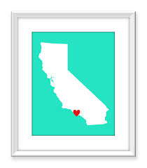 Google Maps Los Angeles Ca california map art print los angeles ca usa state map heart 8x10