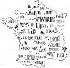 Map Of France With Cities by Hand Drawn Map Of France With Lettering Of Main Cities And Main