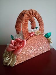 wedding bouquet copper ginger shiny bag decoration with flowers