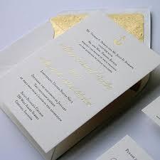 Gold Foil Wedding Invitations Anchor Letterpress And Gold Foil Wedding Invitation Steel Petal