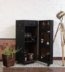 Trunk Bar Cabinet Buy Leather Trunk Bar Cabinet In Black Colour By Studio Ochre