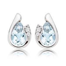 diamond earrings uk 9ct white gold diamond aquamarine stud earrings 0009248