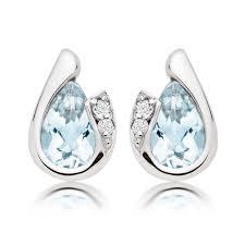 stud diamond earrings 9ct white gold diamond aquamarine stud earrings 0009248
