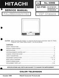 hitachi c21 f100 flat screen television service manual