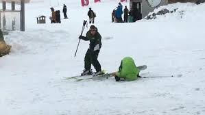 Skiing Meme - drunk man tries to go skiing and fails miserably in funny video