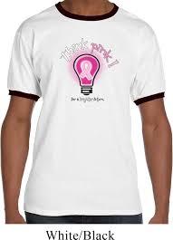 mens breast cancer awareness shirt think pink ringer tee t shirt