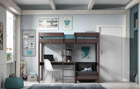 mezzanine canapé lit mezzanine lena avec canapé lit taupe acheter en ligne emob
