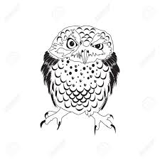Patterned Flying Owl Drawing Illustration Black White Illustration Owl Fly Bird Coloring
