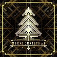 christmas tree art deco style background u2014 stock photo