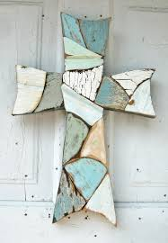 Decorative Wooden Crosses For Wall Mosaic Wall Cross Reclaimed Wood Blue Green Distressed Primitive