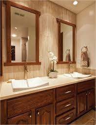 bathroom cool mirrored tile backsplash with double sink and