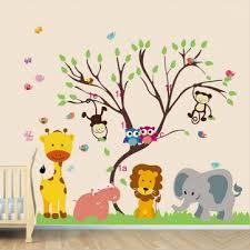monkey wallpaper for walls children kids diy room removable jungle zoo monkey tree owl bird
