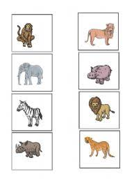 worksheets animals cards