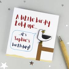 seagull birthday card with enamel pin by wink design