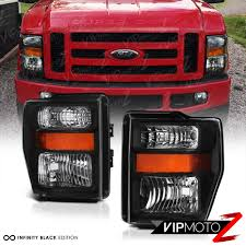08 10 ford f250 f350 harley davidson pair black headlights high