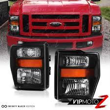 08 10 ford f250 f350 harley davidson pair black headlights high