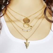 layered necklace chain images Fashion jewelry collar simple gold multi layer bar coin triangle jpg