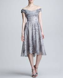lela rose lace pearl printed silk dress in gray lyst