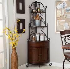 Corner Kitchen Cabinet Storage Ideas by Furniture Dazzling Corner Bakers Rack With Storage Ideas