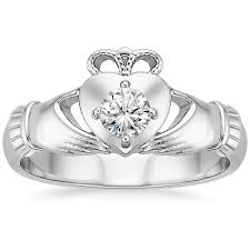 claddagh engagement ring claddagh diamond ring 1 4 ct tw in 18k white gold brilliant