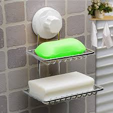 bathroom shoo holder double deck soap dish holder bathroom shower tray with suction cup