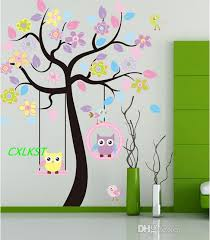 Tree Wall Decal For Nursery Large Owl Bird Swing Flower Tree Wall Stickers Decor