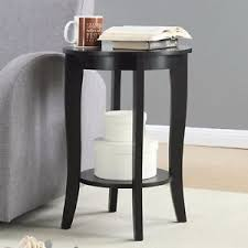 curved wood side table black wood round side table curved legs display storage shelf accent