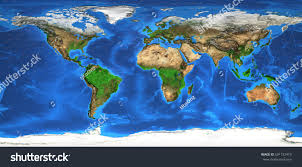 Earth World Map by Detailed Satellite View Earth Landforms Global Stock Illustration