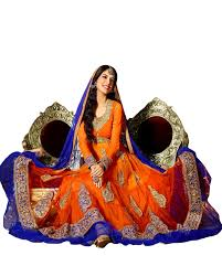 orange and blue combination buy long length and stylish anarkali dresses and salwar suit