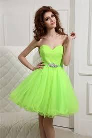strapless short neon green tulle beaded belt corset homecoming