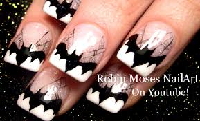 batman nails diy halloween bats spider web nail art design