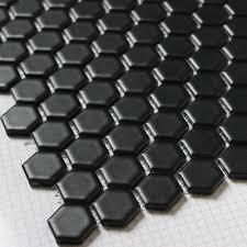 black hexagon ceramic mosaic tiles kitchen backsplash wall