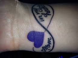 nice purple heart remembrance mom infinity tattoo on wrist