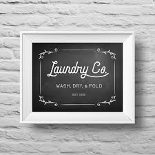 Laundry Room Art Decor by Laundry Co Wash Dry Fold Unframed Typographic Poster