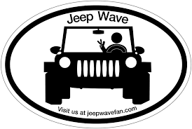cartoon jeep wrangler jeep wave fan bumper sticker and car decal
