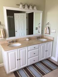 White Bathroom Mirrors by Before And After Customer Bathroom In Las Vegas Frame My Mirror