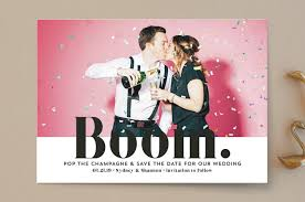 save the date designs boom pop the chagne save the date cards by erika firm minted