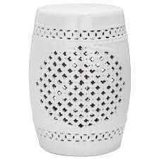 shop safavieh 18 in white ceramic barrel garden stool at lowes com