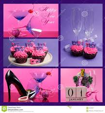 pink and purple theme happy new year collage stock photo image