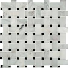 Elegance Black And White Mosaic by Ms International Greecian White Basketweave 12 In X 12 In X 10