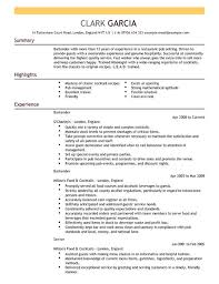bartender resume template bartender cv exle for restaurant bar livecareer