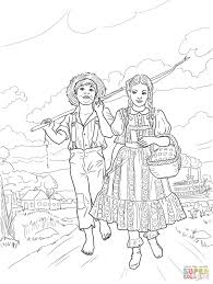 tom sawyer and amy lawrence coloring page free printable